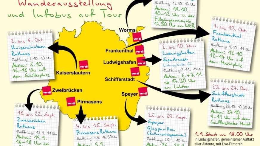 Landkarte mit den Städten der Aufwertungsstaffel